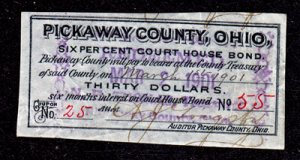 CIRCLEVILLE, PICKAWAY CO, OHIO Six % Court House Bond $30 Dollars, #55, 1901