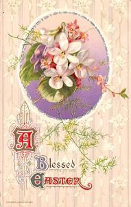 Post Card Old Vintage Antique A Blessed Easter Unused