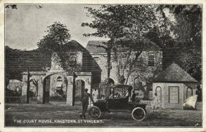 st. vincent, KINGSTOWN, The Court House, Old Car (1899)