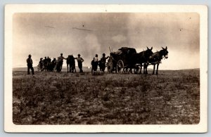 Real Photo Postcard~Wagons Stop for Horse Break~Threatening Clouds~c1908 RPPC