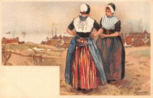 Netherlands Urk costume chromo signed Postcard