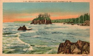 Beauty Along Washington Coast Highway, U.S. 101, WA, 1948 Vintage Postcard g8244
