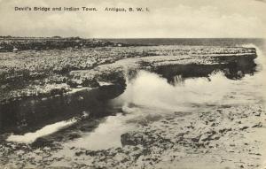 antigua, B.W.I., Devil's Bridge and Indian Town (1910s) Postcard