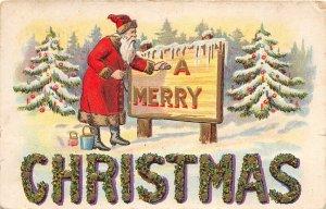 F42/ Santa Claus Merry Christmas Postcard c1910 Paint Sign Snow 6