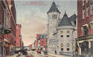 Augusta Maine~Water Street~Kennebec Light-Heat?~US Post Office~Barbers Pole~1905