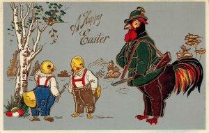 LP29 Easter Postcard Rooster Hunting Chicks Gel finish