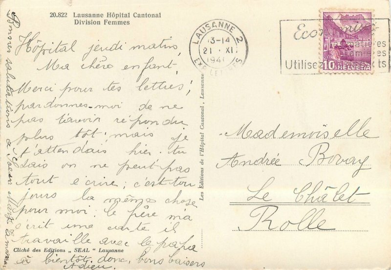 Switzerland Postcard Lausanne Hopital Cantonal division femmes