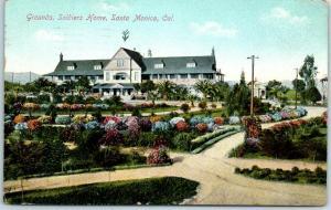 Santa Monica, California Postcard Grounds, Soldier's Home Sawtelle 1909 Cancel