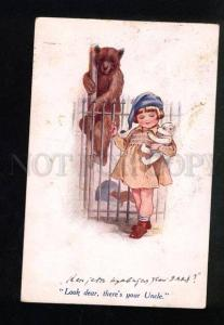 031534 Girl in Zoo w/ White TEDDY BEAR Toy. Vintage