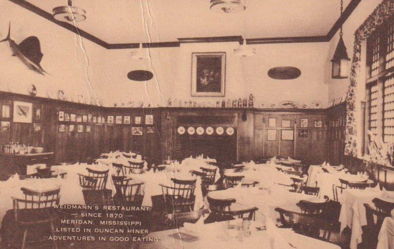 MERIDAN, Mississippi, PU-1951; Weidmann's Restaurant Interior
