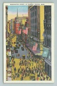 Washington Street Summer Aerial Birdseye Boston Massachusetts Postcard