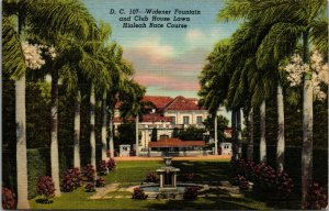 Hialeah Race Course, FL, Widener Fountain, 1940 Linen Vintage Postcard