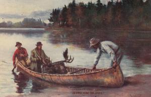 Moose Hunters in canoe , Canada , 00-10s