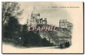 Old Postcard Paris Sacre Coeur Basilica in Montmartre