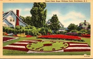 Rhode Island Providence Roger Williams Park Floral Clock 1941 Curteich