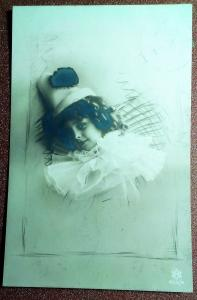 Antique photo postcard 1912s Curly charming Boy Pierrot Carnival. Theater