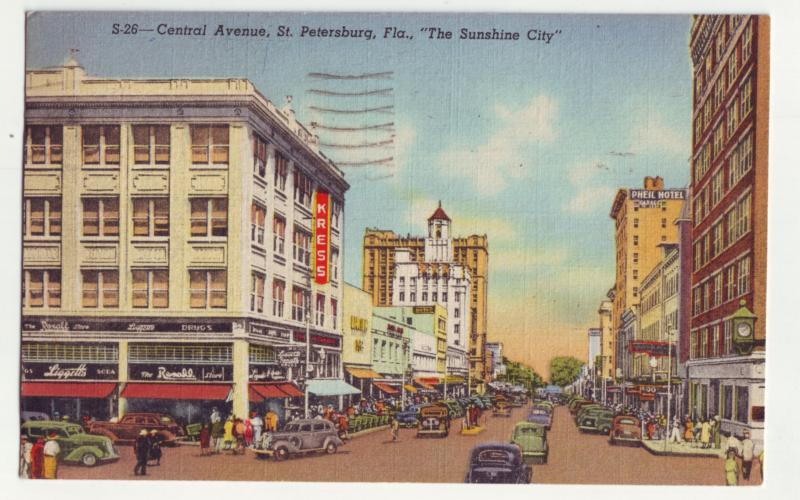 P1149 1947 postcard scene many old cars store signs etc st petersburg florida