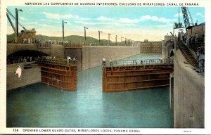 Panama Canal Miraflores Locks Opening Lower Guard Gates