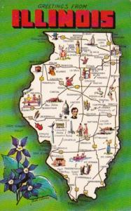 Greetings From Illinois With Map