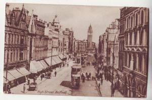 P644 JLs old card street scene trollies etc high street belfast ireland