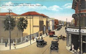 D72/ Foreign Postcard Jamaica c1910 Kingston Harbour St Barclays Bank Autos