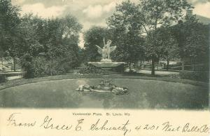 Vanderventer Place & Fountain, St Louis, Missouri MO 1907 Black& White Postcard