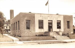 Missouri Valley Iowa~US Post Office~Door Open~Classic Car in Back~1940s RPPC