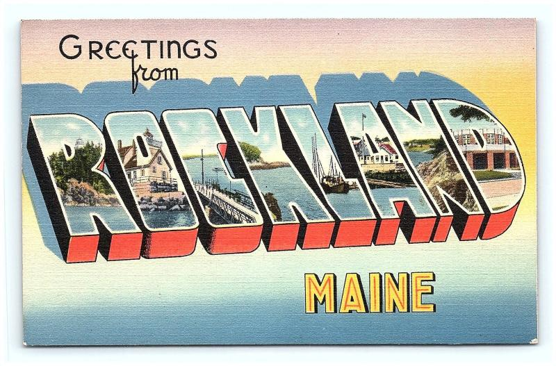 Postcard ME Rockland Large Letter Greetings from Rockland Maine Linen G11