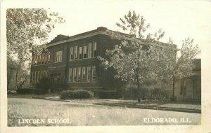 Eldorado Illinois Lincoln School 1949 RPPC Photo Postcard 21-6224