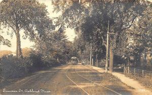 Ashland MA Summer Street Trolley 1924 RPPC Postcard