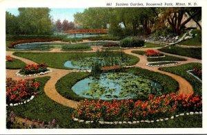North Dakota Minot Roosevelt Park Sunken Garden Curteich