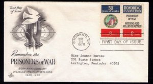 1970 US Sc #1421-1422 FDC Honoring Prisoners Of WarGreat Conditio...
