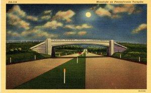 PA - Pennsylvania Turnpike. Moonlight Scene
