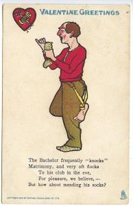 Raphael Tuck Valentine Greetings The Bachelor 1907 Postcard