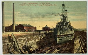 Old DB Postcard USS Mississippi in Dry Dock, League Island Navy Yard, PA, Unused