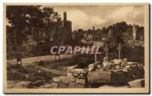 Old Postcard Caen through the ruins street unnamed Army