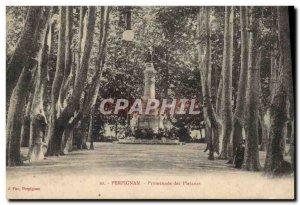 Old Postcard Perpignan Promenade des Platanes