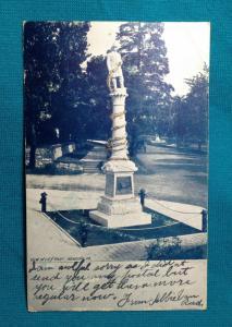 1906 READING PA City Park Volunteer Fireman's Firefighters Monument Glitter RARE