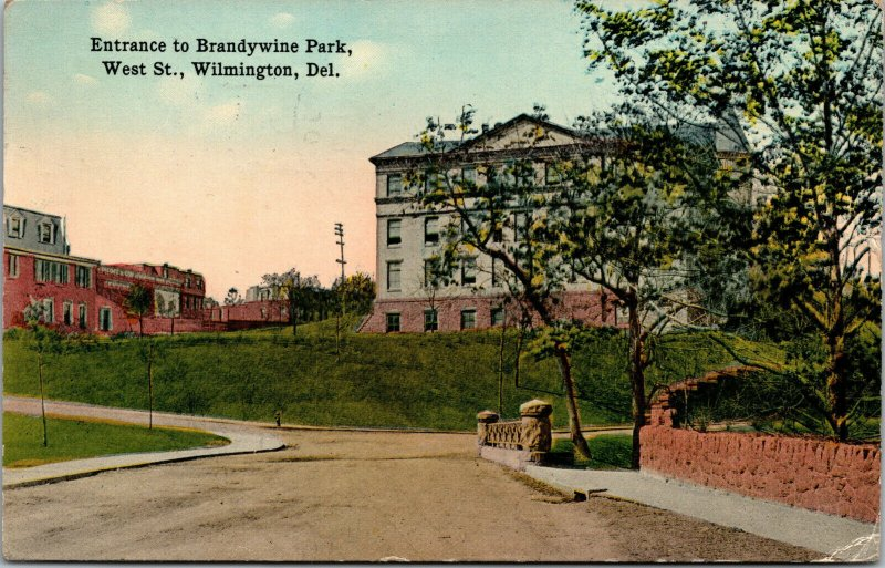 Vtg 1910s Entrance to Brandywine Park West St Wilmington Delaware DE Postcard