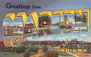 Marion Indiana~Large Letter Linen~Schools~Courthouse~Swimming Pool 1944