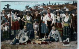 MEXICO  Group of CHINAS POBLANAS y CHARROS  ca 1910s  Postcard