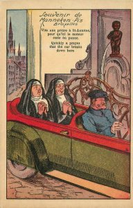 Artist impression nuns in car riding by peeing statue Postcard 21-10627