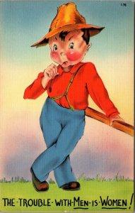 WWII Era Linen Comic Postcard Trouble With Men Is Women - RARE - PC