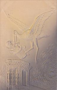 Birth Stork Delivering Baby 1909 Embossed
