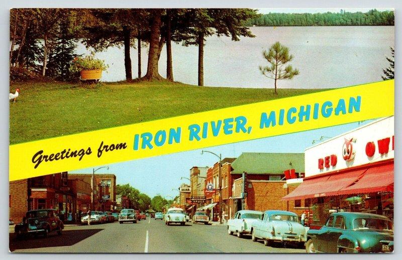 Iron River Michigan Banner~Genesee Street Red Owl Store~Hagerman Lake~1950s Cars
