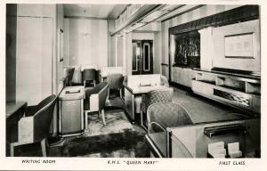 Cunard Lines - RMS Queen Mary. **RPPC**  First Class, Writing Room