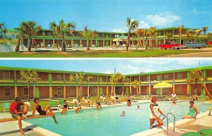 Myrtle Beach SC Hillcrest Motel Split View Old Cars Busy Swimming Pool Postcard
