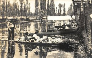 Xochimilco México Boats Vendedor De Flores Real Photo Postcard