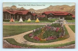 Postcard WY Glacier National Park Glacier Park Hotel Hand Colored c1930s J10