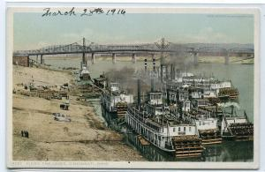 Paddle Steamer Levee Cincinnati Ohio 1916 Phostint postcard